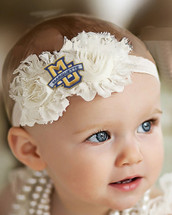 Marquette Golden Eagles Baby/ Toddler Shabby Flower Hair Bow Headband