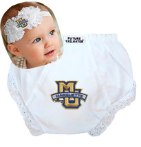 Marquette Golden Eagles Baby Eyelet Diaper Cover and Shabby Bow Headband