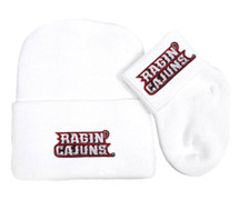 Louisiana Ragin Cajuns Newborn Baby Knit Cap and Socks Set
