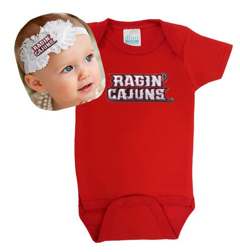 Louisiana Ragin Cajuns Baby Bodysuit and Shabby Bow Headband