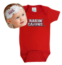 Louisiana Ragin Cajuns Baby Bodysuit and Shabby Bow Headband
