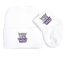 Weber State Wildcats Newborn Baby Knit Cap and Socks Set