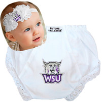 Weber State Wildcats Baby Eyelet Diaper Cover and Shabby Bow Headband