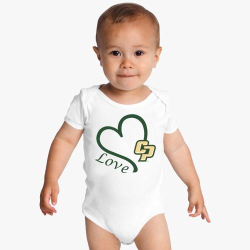 Cal Poly Mustangs Love Baby Onesie