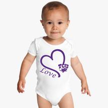 Texas Christian TCU Horned Frogs Love Baby Onesie