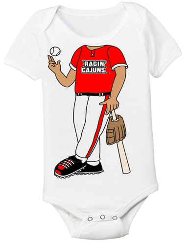 Louisiana Ragin Cajuns Heads Up! Baseball Baby Onesie