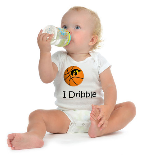 "Iowa Hawkeyes Basketball ""I Dribble"" Baby Onesie"