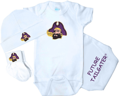 East Carolina Pirates Homecoming 3 Piece Baby Gift Set