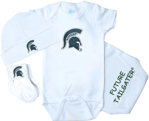 Michigan State Spartans Homecoming 3 Piece Baby Gift Set