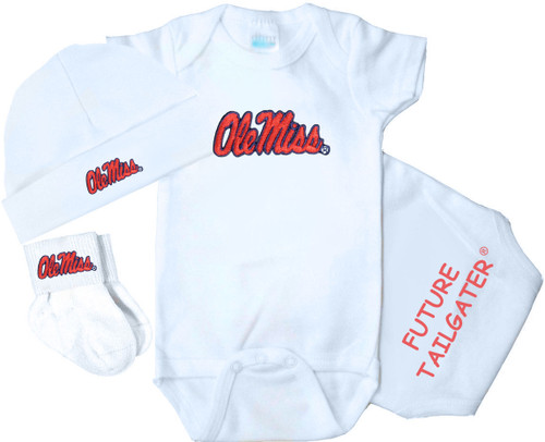 Mississippi Ole Miss Rebels Homecoming 3 Piece Baby Gift Set