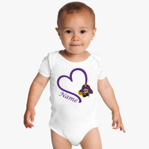 East Carolina Pirates Personalized Heart Baby Bodysuit