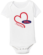 Mississippi Ole Miss Rebels Personalized Heart Baby Onesie
