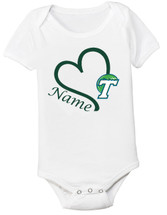 Tulane Green Wave Personalized Heart Baby Bodysuit