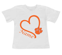 Clemson Tigers Personalized Heart Baby/Toddler T-Shirt