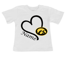 Iowa Hawkeyes Personalized Heart Baby/Toddler T-Shirt