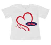 Mississippi Ole Miss Rebels Personalized Heart Baby/Toddler T-Shirt