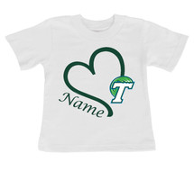 Tulane Green Wave Personalized Heart Baby/Toddler T-Shirt