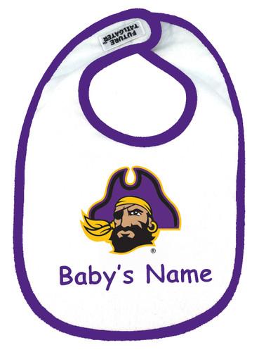 East Carolina Pirates Personalized 2 Ply Baby Bib