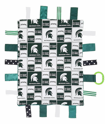 Michigan State Spartans Baby Sensory Tag Lovey Minky Blanket