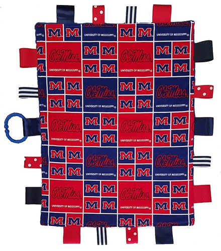 Mississippi Ole Miss Rebels Baby Sensory Tag Lovey Minky Blanket