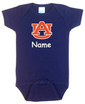 Auburn Tigers Personalized Team Color Baby Bodysuit