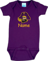 East Carolina Pirates Personalized Team Color Baby Onesie