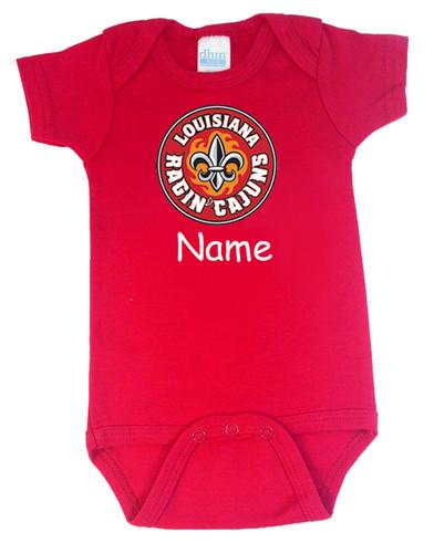 Louisiana Ragin Cajuns Personalized Team Color Baby Onesie