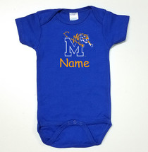 Memphis Tigers Personalized Team Color Baby Onesie