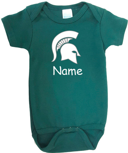 Michigan State Spartans Personalized Team Color Baby Onesie