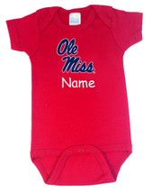 Mississippi Ole Miss Rebels Personalized Team Color Baby Onesie