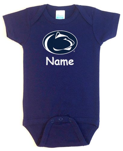Penn State Nittany Lions Personalized Team Color Baby Onesie