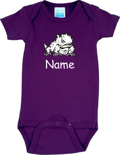Texas Christian TCU Horned Frogs Personalized Team Color Baby Onesie