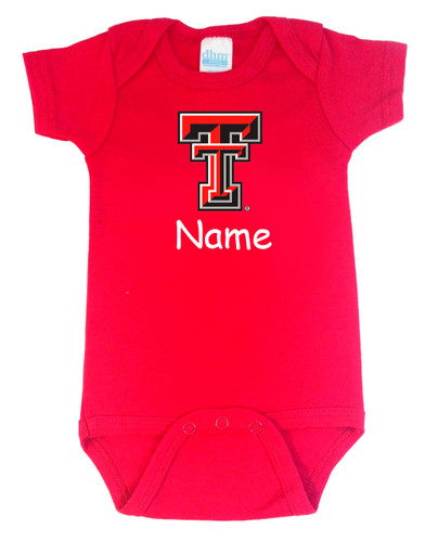 Texas Tech Red Raiders Personalized Team Color Baby Onesie