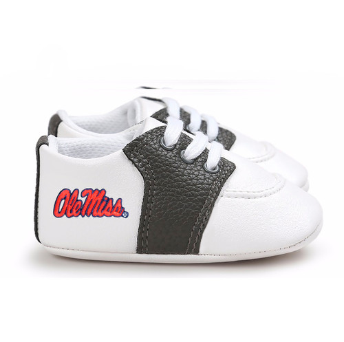 Mississippi Ole Miss Rebels Pre-Walker Baby Shoes - Black Trim