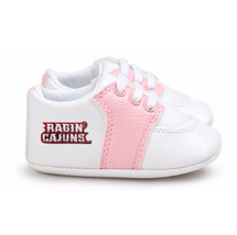 Louisiana Ragin Cajuns Pre-Walker Baby Shoes - Pink Trim