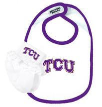 Texas Christian TCU Horned Frogs Baby Bib and Socks Set