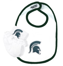 Michigan State Spartans Baby  Bib and Socks with Lace Set