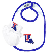 Louisiana Tech  Baby Bib and Socks with Lace Set