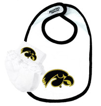 Iowa Hawkeyes Bib and Socks with Lace Baby Set