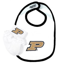 Purdue Boilermakers Bib and Socks with Lace Baby Set