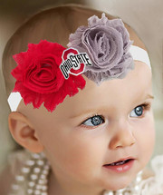 Ohio State Buckeyes Baby/ Toddler Shabby Flower Bow Headband -Team Colors
