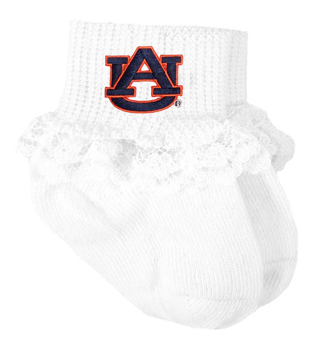 Auburn Tigers Baby Laced Sock Booties