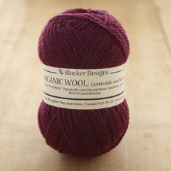 Organic Corriedale/Hebridean Plum over-dyed 4-ply knitting yarn