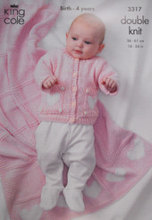 Baby Cardigan, Dress, Hat and Blanket - 3317