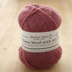 Manx/Mohair over-dyed Sloe 4ply knitting yarn