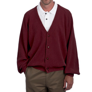 Men's Alpaca Golf Cardigan - Retro Pro Fron Burgundy