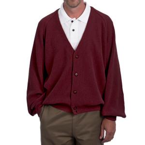 Men's Alpaca Golf Cardigan - Retro Pro Fron Burgundy