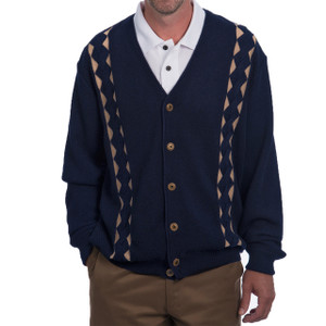 Retro Diamond V-Neck Cardigan Front Navy/Tan