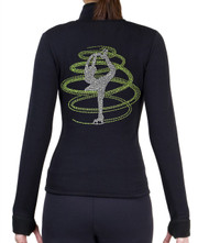 Fitted Skating Fleece Jacket with Rhinestones R254LM - Lime