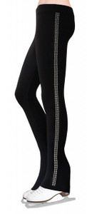 Skating Pants with Rhinestones Side Stripe - Crystal AB